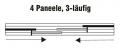 Schiene für Flächenvorhänge mit 3 Laufschienen Typ3