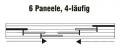 Schiene für Flächenvorhänge mit 4 Laufschienen Typ4